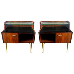 Pair of Italian Bedside Rosewood, glass and Brass Cabinets, Mid-Century Modern