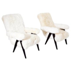 Midcentury Sheepskin Armchairs, Probably Italy