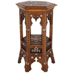 Moorish Style Carved Hardwood Side Table with Mother of Pearl Inlay