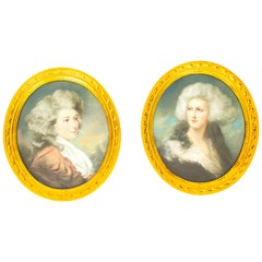 Antique Pair of French Pastel and Gouache Portraits, Mid-19th Century