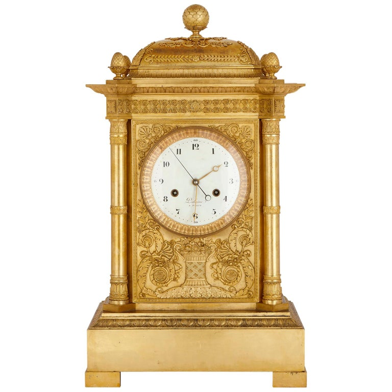 Large Neoclassical Style Gilt Bronze Mantel Clock by Piolaine For Sale