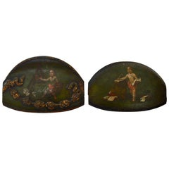 Pair of 18th Century Painted Architectural Fragment Panels with Putties
