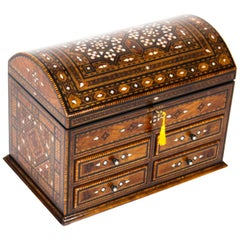 Antique Damascus Mother-of-pearl and Specimen Wood Inlaid Table Chest