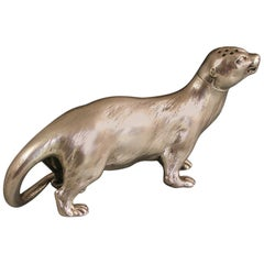 Victorian Novelty Cast Silver Otter Pepper by George Fox, London, 1895