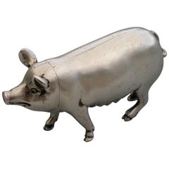 Victorian Novelty Cast Silver Pig Pepper. by Jane Brownett, London 1890