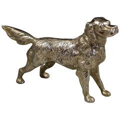 Victorian Novelty Antique Silver Golden Retriever Dog Pepper W E Hurcomb, 1906