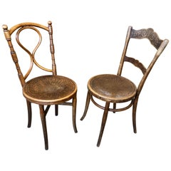 Two Austrian Authentic Bistro/Caffe Bentwood Patterned Seat Wooden Chairs