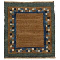 Vintage Miniature Modernist Tribal Camel Wool Sofreh Rug
