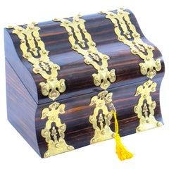 Antique Coromandel Gothic Revival Gilt Brass Strapwork Stationery Box