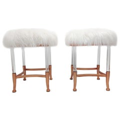 Pair Copper Metal & Lucite Frame Sheepskin Stools Ottomans