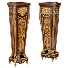 Near Pair of Gilt Bronze and Marble Mounted Mahogany Pedestals after Riesener