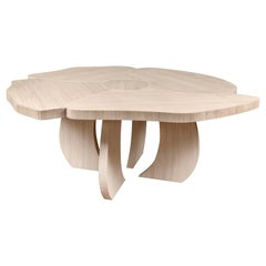 Table Andy, Flower Shape, Brushed Oakwood, Italy