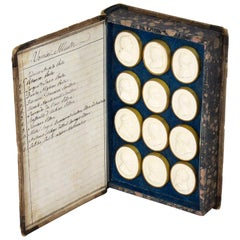 Set 24 Book Framed Plaster Grand Tour Intaglios Emperors Artists 19th Century