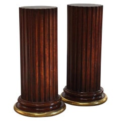 Pair of 19th Century Mahogany Pedestals with Water Gilded Bases