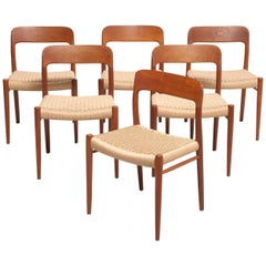 6 Papercord Dining Chairs, Niels O. Møller