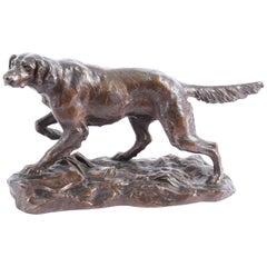 Antique Bronze Sculpture Irish Setter Dog Hunting by H. Peyrol, 19th Century