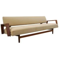 Rob Parry 'Doublet' Daybed Teak/Fabric Sofa for Gelderland, Netherlands, 1958