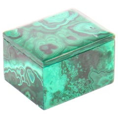 Antique Malachite Rectangular Trinket Pillbox, 19th Century