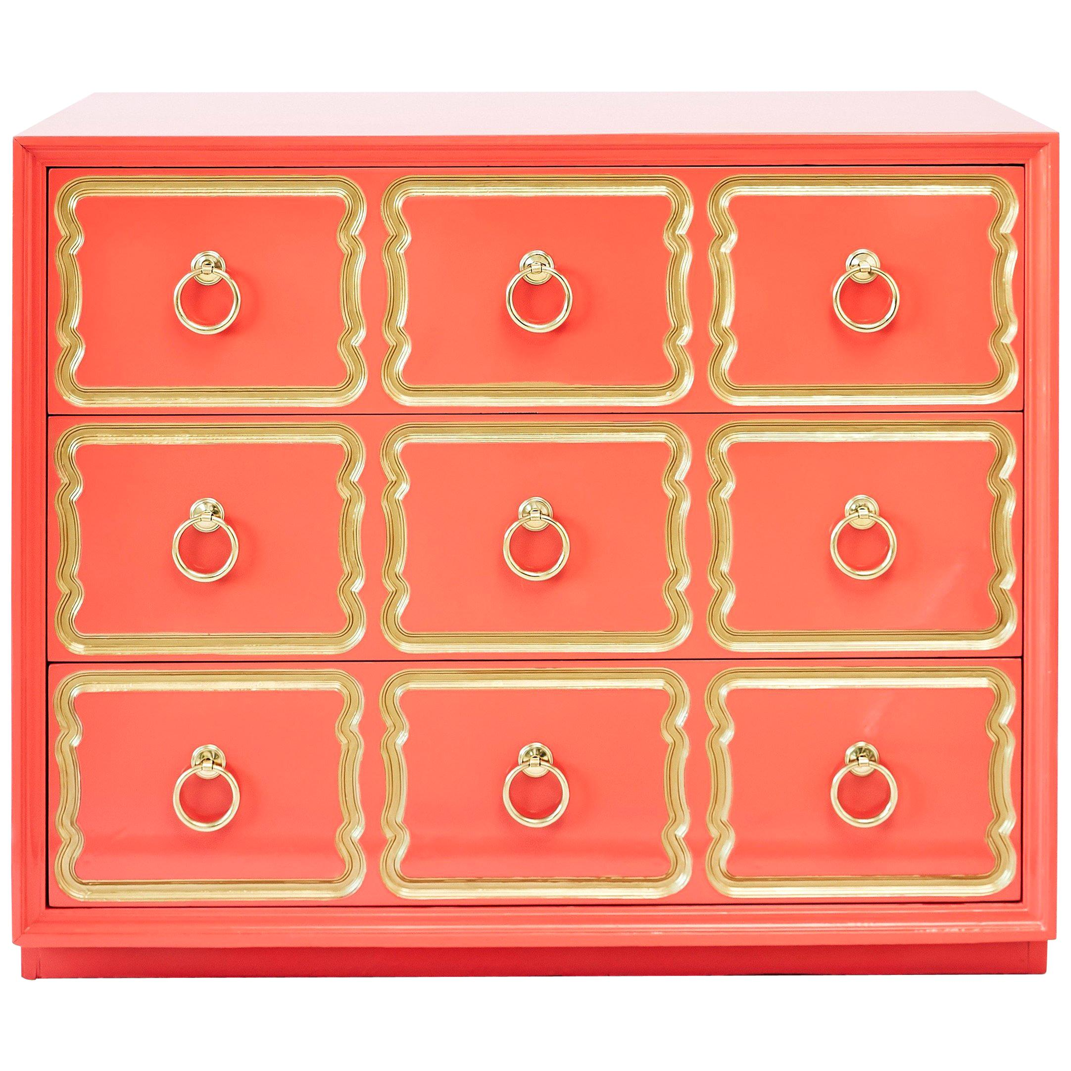 Authentic Dorothy Draper Espana Chest in Coral Lacquer