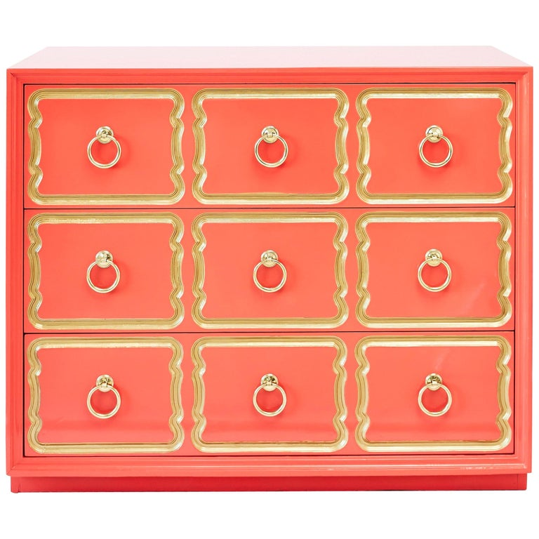Authentic Dorothy Draper Espana Chest in Coral Lacquer For Sale
