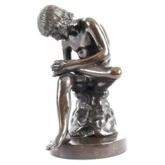 Antique Brown Patinated Bronze Figure of Boy with Thorn Spinario 19th Century