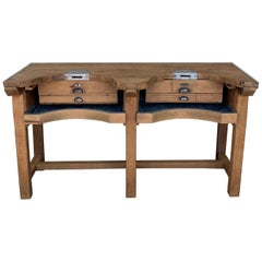 French Jewery Bench or Work Bench Table with Zinc-Lined Drawers and Compartment