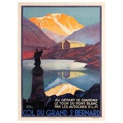 Original Vintage Poster by Broders Col Du Grand St Bernard Pass Mont Blanc PLM