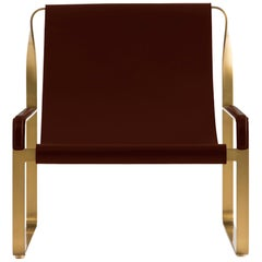 Wanderlust Chaise Lounge Aged Brass Steel and Dark Brown Vegetable Leather