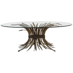 Brass and Glass Midcentury Coffee Table in the Style of Coco Chanel