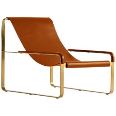 Wanderlust Chaise Lounge Aged Brass Steel and Natural Tobacco Vegetable Leather