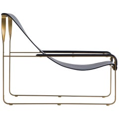Wanderlust Chaise Lounge Aged Brass Steel and Navy Blue Vegetable Leather