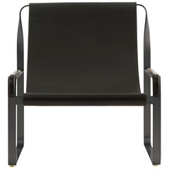 Wanderlust Chaise Lounge Black Smoke Steel and Black Vegetable Leather