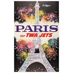 Original Vintage Mid Century Travel Poster Paris Fly TWA Jets Ft. Eiffel Tower