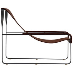 Wanderlust Chaise Lounge Black Smoke Steel and Dark Brown Vegetable Leather