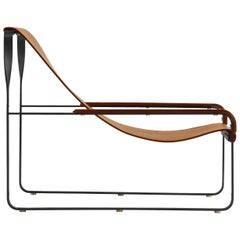 Wanderlust Chaise Lounge Black Smoke Steel and Natural Tobacco Vegetable Leather
