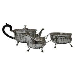 Silver 3-Piece Tea Set Chester 1908 Herbert Edward Barker & Frank Ernest Barker