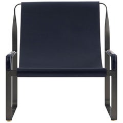 Wanderlust Chaise Lounge Black Smoke Steel and Navy Blue Vegetable Leather