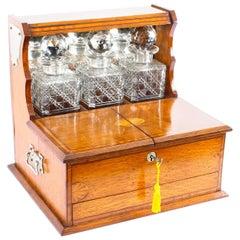 Antique Golden Oak Cased Three Crystal Decanter Tantalus 19th Century