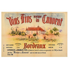 Original Antique French Bordeaux Wine Poster Vins Fins Marque Du Convent France