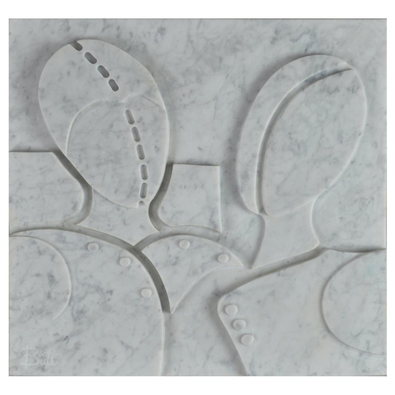 Small Carrara Marble Bas-Relief Hector and Achilles