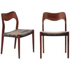Mid-Century Modern Pair of Rosewood Side Chairs Niels Møller for J.L. Møller