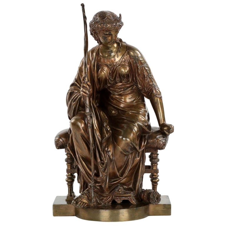 "French Antique Bronze Sculpture ""Seated Artemis"" by Etienne Henri Dumaige For Sale"