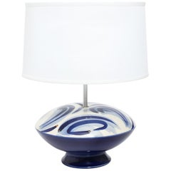 Mid-Century Modern Blue and White Glass Lamp, circa 1970s