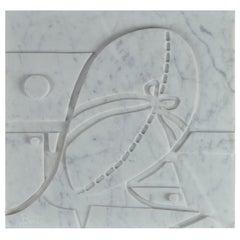 Small Carrara Marble Bas-Relief Penelope