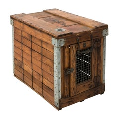 Early 20th Century Antique Wooden Dog Crate