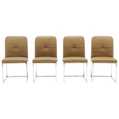 Milo Baughman Dining Chairs, Set of Four, Chrome and Tan Leather