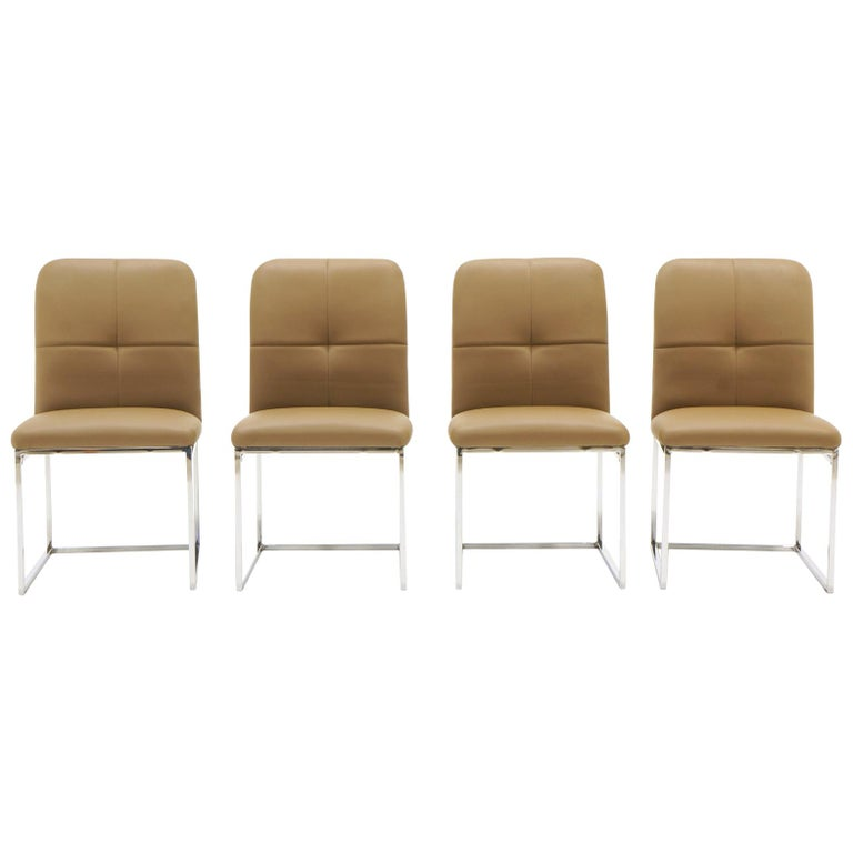 Milo Baughman Dining Chairs, Set of Four, Chrome and Tan Leather For Sale
