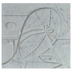 Large Carrara Marble Bas-Relief Penelope
