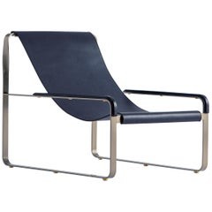 Wanderlust Chaise Lounge Old Silver Steel and Navy Blue Vegetable Leather