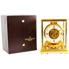 Vintage Atmos Jaeger LeCoultre Perpetual Mantle Clock Box & Papers 20th Century